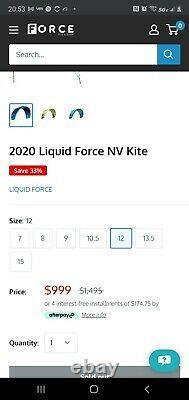 2020 Liquid Force Nv Kite, 12m Flambant Neuf Jamais Gonflé Ou Déplié Kiteboarding