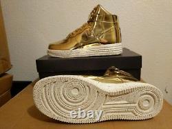 Nouvelle Nike Air Lunar Force 1 Hi Sp Metallic Gold Liquid Metal 652845 770 Sz 9 Us